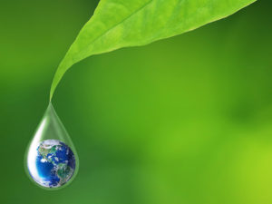 Earth in water drop reflection under green leaf
